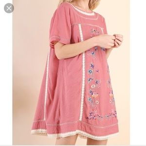 Umgee Bohemian Embroidery Dress - Color Rose - L